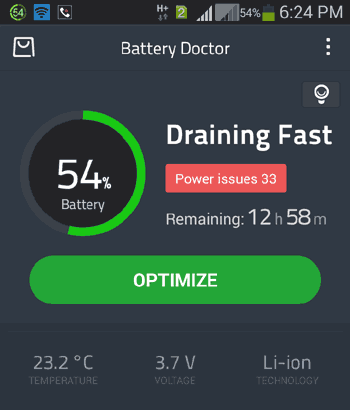 Batterie Docteur Temps restant Inaccurate