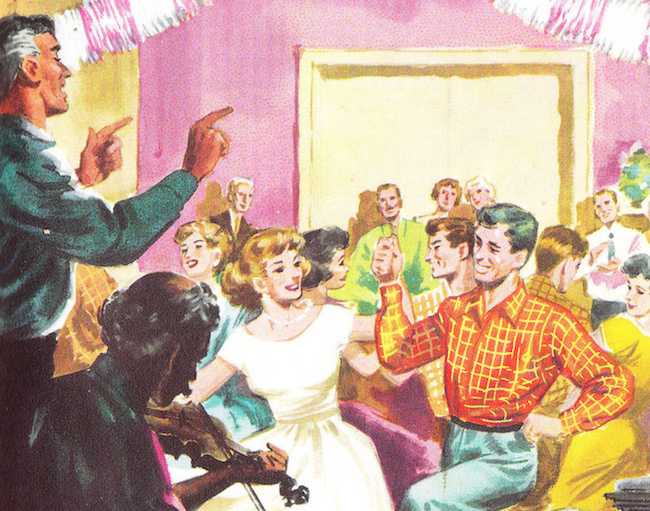illustration of a fun party from the 1950s