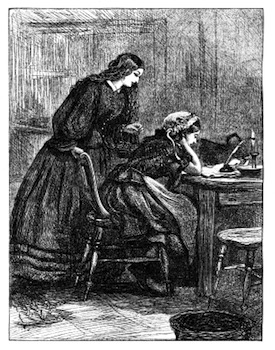 image of two women at a writing desk