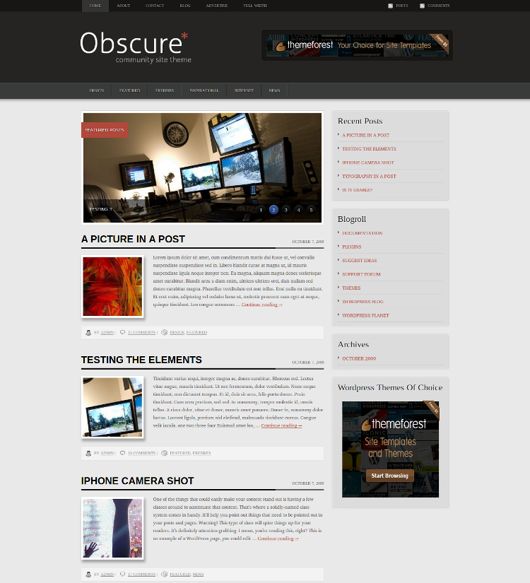 Obsecure Free WordPress Theme