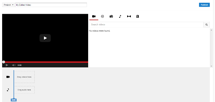 YouTube Dans construit Video Editor
