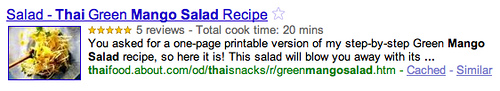 Google Recettes Rich Snippets