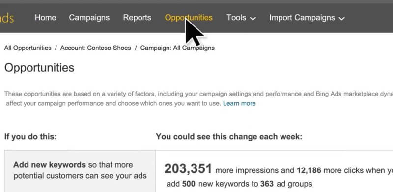 Bing Ads Opportunities Tab