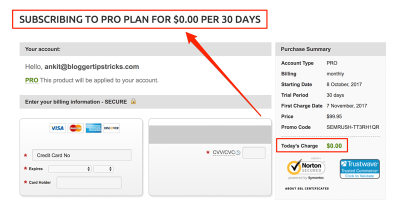 semrush pro 30 days trial