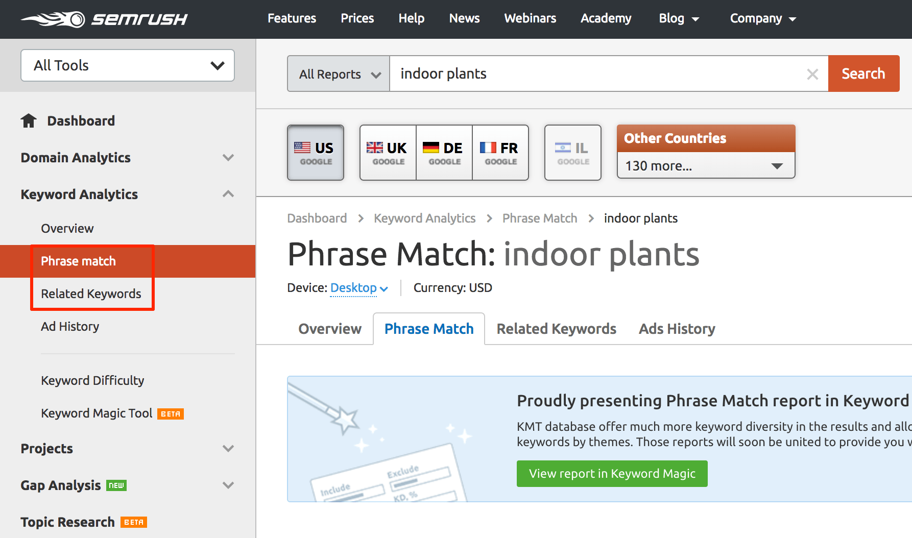 SEMrush Phrase Match Related Keywords